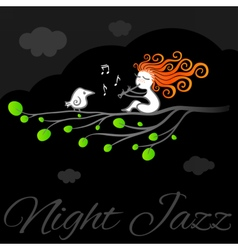 Night jazz art poster vector
