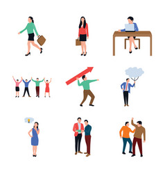 office people flat icons pack vector image