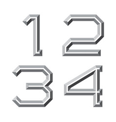 One two three four gray faceted numbers vector