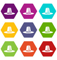 Pilgrim hat icon set color hexahedron vector