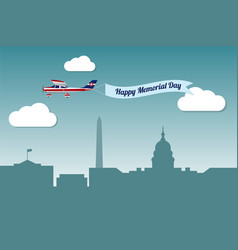 plane with banner happy memorial day vector image