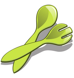 plastic spoon and fork green color isolated on vector image