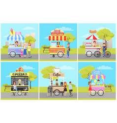 popcorn and ice cream pizza and coffee carts vector image