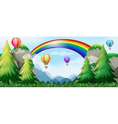Rainbow and balloons vector