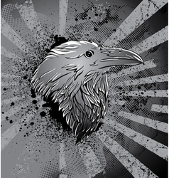 raven with grunge background vector image