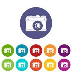 Retro camera set icons vector image