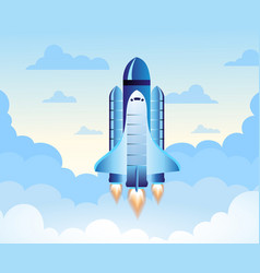 rocket launch new project start up concept in vector image