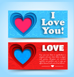 romantic greeting horizontal banners vector image