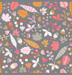 scandinavian flowers and leaves seamless vector image