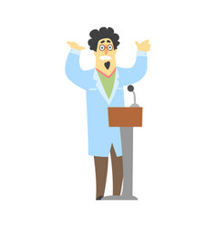 scientist speaking from the rostrum with arms vector image