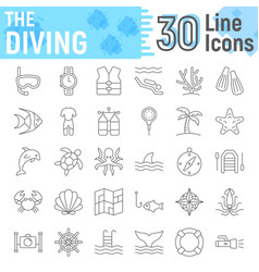 scuba diving thin line icon set underwater signs vector image