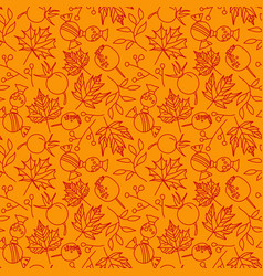 seamless autumn leaves pattern with line doodle vector image