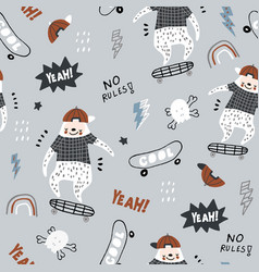 Seamless childish pattern with funny sloths on vector