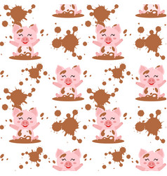 Seamless pattern with pink pig vector