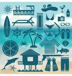 seaside holiday icon set vector image