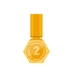 Second place golden medal with ribbon vector