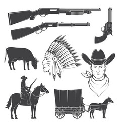 Set cowboy club icon concept for shirt vector