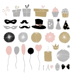 set hand drawn party elements doodle gift vector image