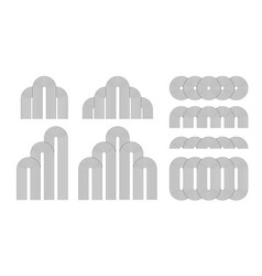 set line art elements optical illusion shapes vector image