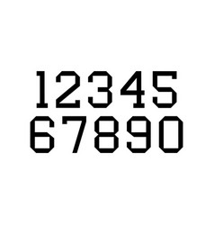 set numbers with black typography design vector image