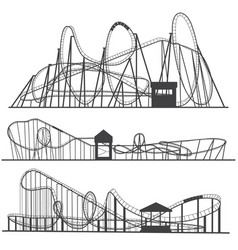 Set of silhouettes roller coaster rollercoaster vector