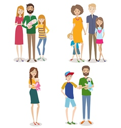 Set people with family and kids vector