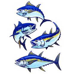 Set tuna fish in colors version vector