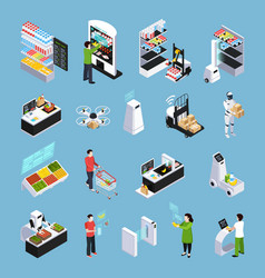 Shop of future isometric icons vector