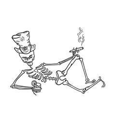 skeleton in a hat with a cigar and a drink vector image