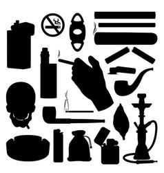 Smoking silhouettes tobacco cigarette cigar icons vector