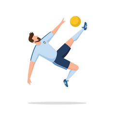 Soccer player doing an overhead kick vector
