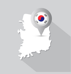 south korea map with pointer decorated korean flag vector image