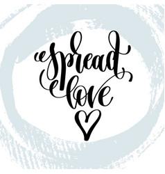Spread love hand lettering inscription on blue vector