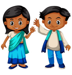 Sri lanka boy and girl in traditional costume vector