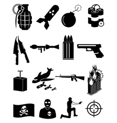 Terrorist icons set vector