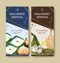 Thai sweet flyer design with pudding banana vector
