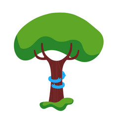 tree hug children nature help concept vector image vector image
