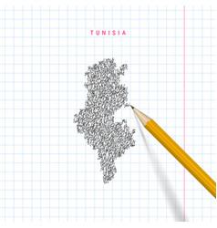 Tunisia sketch scribble map drawn on checkered vector