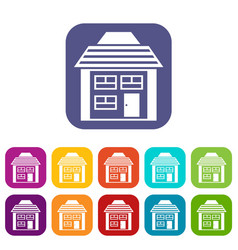 two-storey house with sloping roof icons set vector image