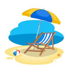 umbrella and sun lounger on beach vector image