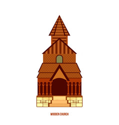 urnes stave church part of unesco norway vector image