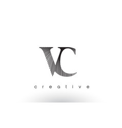 Vc logo design with multiple lines and black and vector