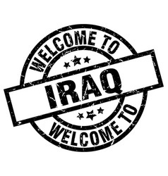 Welcome to iraq black stamp vector