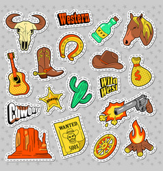 Western elements doodle wild west stickers vector