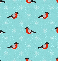 Winter seamless background with bullfinch vector image
