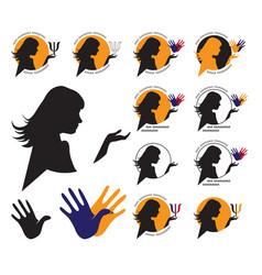 woman silhouette psychologist vector image