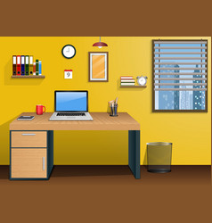 workplace in room with view city at window vector image