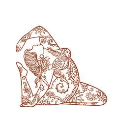 Yoga girl ornament meditation pose concept vector