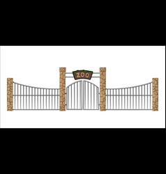 Zoo gate isolated object in cartoon style vector