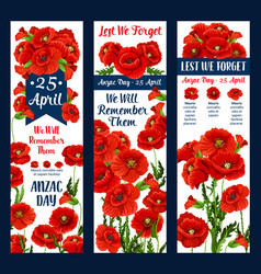 Anzac day lest we forget poppy ribbon icon vector